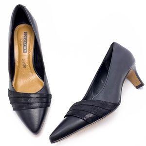 Clarks 7W Black Pointed Toe Kitten Heel Pumps